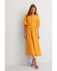NA-KD Maxi-jurk Met Lange Mouwen - Oranje