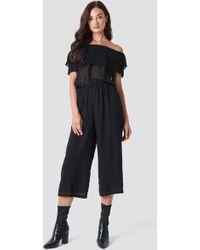 Rut&Circle - Frill Jumpsuit Black - Lyst