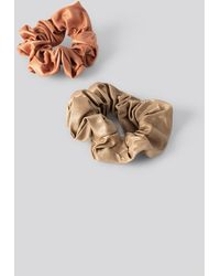 NA-KD Double Pack Dull Satin Scrunchies Multicolour - Brown