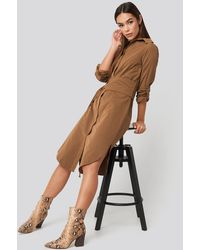 Trendyol Midi Belted Shirt Dress - Bruin