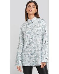 NA-KD Trend Oversized Printed Cotton Pocket Shirt - Mehrfarbig