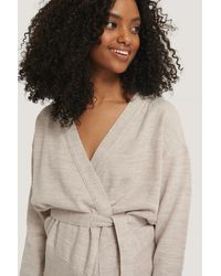NA-KD Belted Wrap Cardigan - Wit