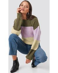 NA-KD Color Striped Balloon Sleeve Knitted Sweater - Meerkleurig