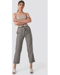 NA-KD Linen Look Striped Pants - Marron