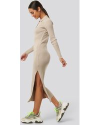 NA-KD Polo Collar Knit Maxi Dress - Naturel
