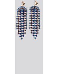 NA-KD Blue Rhinestone Drop Earrings - Blauw