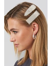 NA-KD - White Beaded Hairclips - Lyst