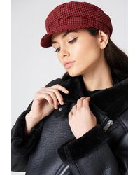 NA-KD Accessories Houndstooth Cap - Rot