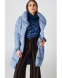 NA-KD Shawl Collar Padded Jacket - Blau