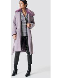 NA-KD Big Faux Fur Collar Coat - Paars