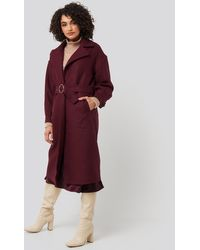 Trendyol Ring Buckle Belt Detailed Long Coat - Rood