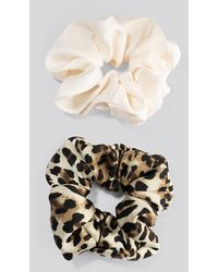 NA-KD 2-pack Leo Mix Scrunchies White