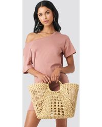 NA-KD Beige Big Strawy Basket Bag - Natural