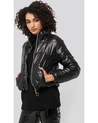 Trendyol Zipper Upright Collar Crop Jacket - Schwarz