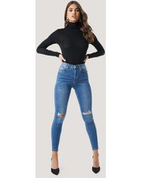 NA-KD Skinny High Waist Destroyed Jeans - Blauw