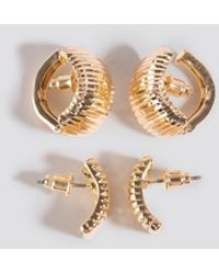 NA-KD Accessories Double Pack Vintage Clip Earrings - Mettallic