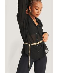 NA-KD Gold Chunky Coin Detail Chain Belt - Metallic