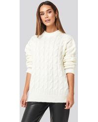 NA-KD Cable Knitted Oversized Sweater - Weiß