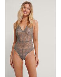NA-KD Gray V-neck Lace Bodysuit