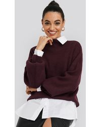 NA-KD High Neck Big Sleeve Knitted Sweater - Rot