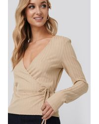 NA-KD - Beige Overlap Ribbed Top - Lyst