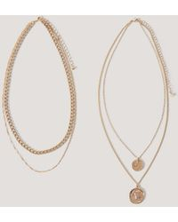 NA-KD Layered Coin And Chain Necklaces - Metallic