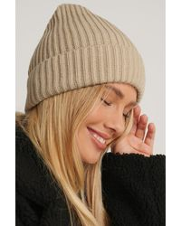 NA-KD Basic Knitted Beanie Beige - Natural