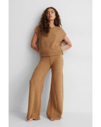 NA-KD Beige Wide Knitted Pants - Brown