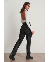 NA-KD Multicolor Pinstriped Back Slit Suit Pants - Black