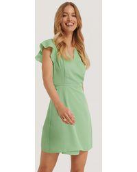 Glamorous Green Wrap Ruffle Sleeve Mini Dress