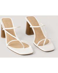 NA-KD Fine Strappy Block Heel Sandals - Wit