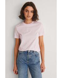 Calvin Klein Organic Monogram Logo Tee - Pink