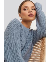 NA-KD Folded Sleeve Chunky Sweater - Grijs