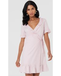 NA-KD - Wrap Over Frill Linen Look Dress - Lyst