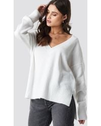 NA-KD Deep V-neck Oversized Sweater - Blanc