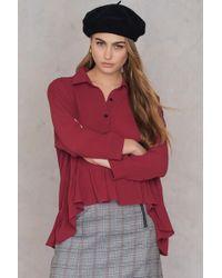 SHEIN - Frill Shirt Blouse - Lyst