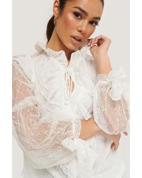 Trendyol White Lace Sleeve Blouse