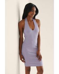 NA-KD - Ripp-Kleid Mit Neckholder-Ausschnitt - Lyst