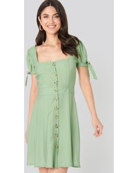 Trendyol Front Button Knot Detailed Dress - Vert