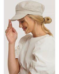 NA-KD Beige Linen Bakerboy Cap - Multicolor