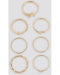 NA-KD Accessories Fine Stacking Rings (7-Pack) - Mehrfarbig