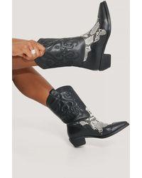 NA-KD Black Reptile Detailed Cowboy Boots