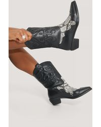 NA-KD Black Reptile Detailed Cowboy Boots