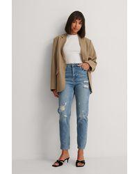 Trendyol Gescheurd Jeans Met Hoge Taille - Blauw