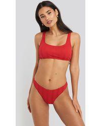 NA-KD Swimwear Wide Ribbed Bikini Top - Rot