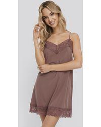 NA-KD Burgundy Lace Detail Night Dress - Red