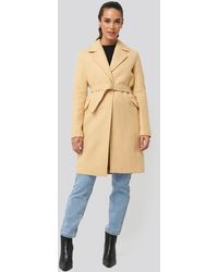 Trendyol Metal Buckle Arched Woolen Coat Beige - Natural