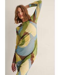 NA-KD Trend Recycelt Mesh-Kleid Mit Swirl-Print - Gelb