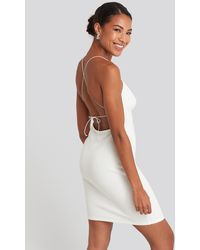 NA-KD Open Back Jersey Dress - Blanc