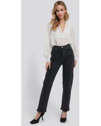 NA-KD Straight High Waist Jeans - Grijs